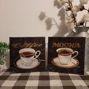 8x8in Coffee & Mocha canvas set of 2